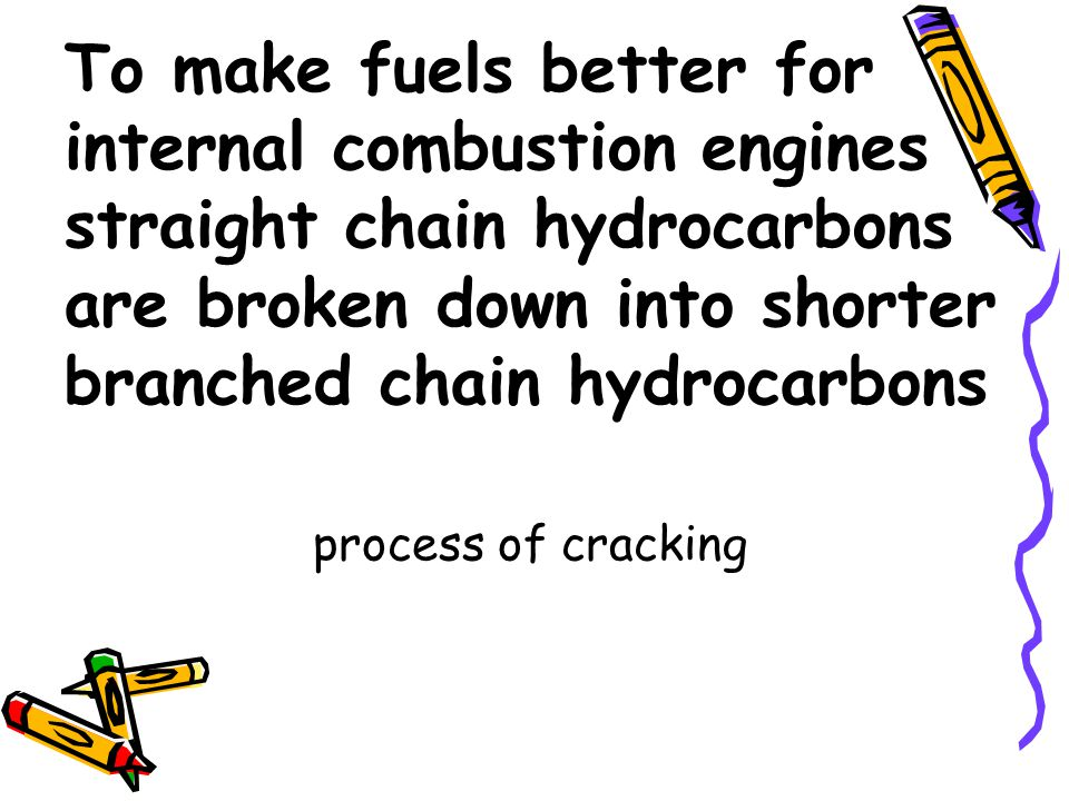 To make fuels better for internal combustion engines straight chain hydrocarbons are broken down into shorter branched chain hydrocarbons