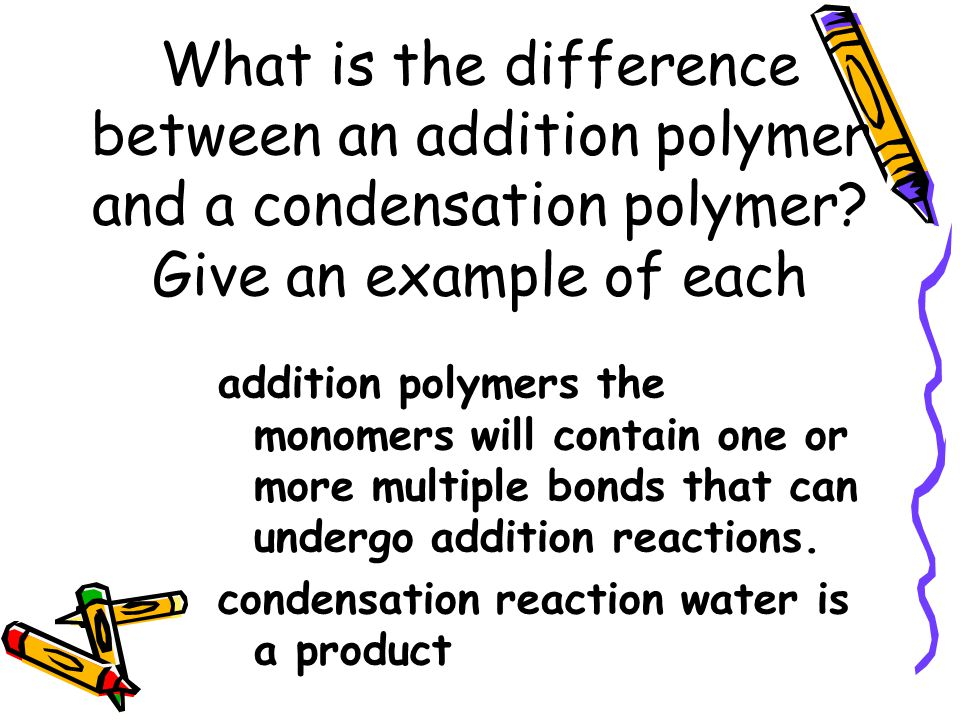 What is the difference between an addition polymer and a condensation polymer Give an example of each