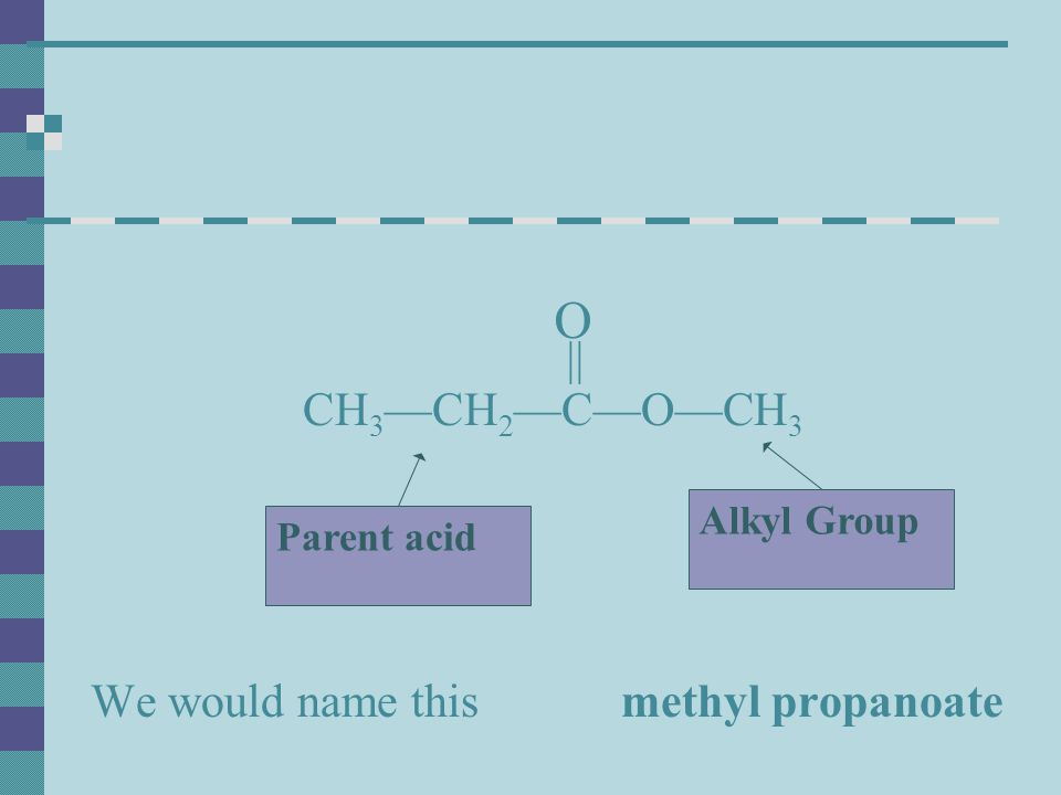 O CH3—CH2—C—O—CH3 We would name this methyl propanoate || Alkyl Group