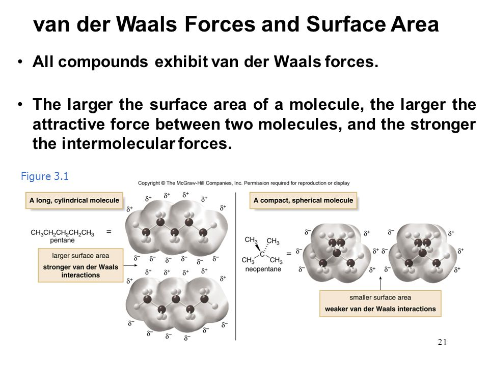 van der Waals Forces and Surface Area