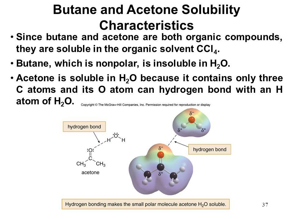 Butane and Acetone Solubility Characteristics