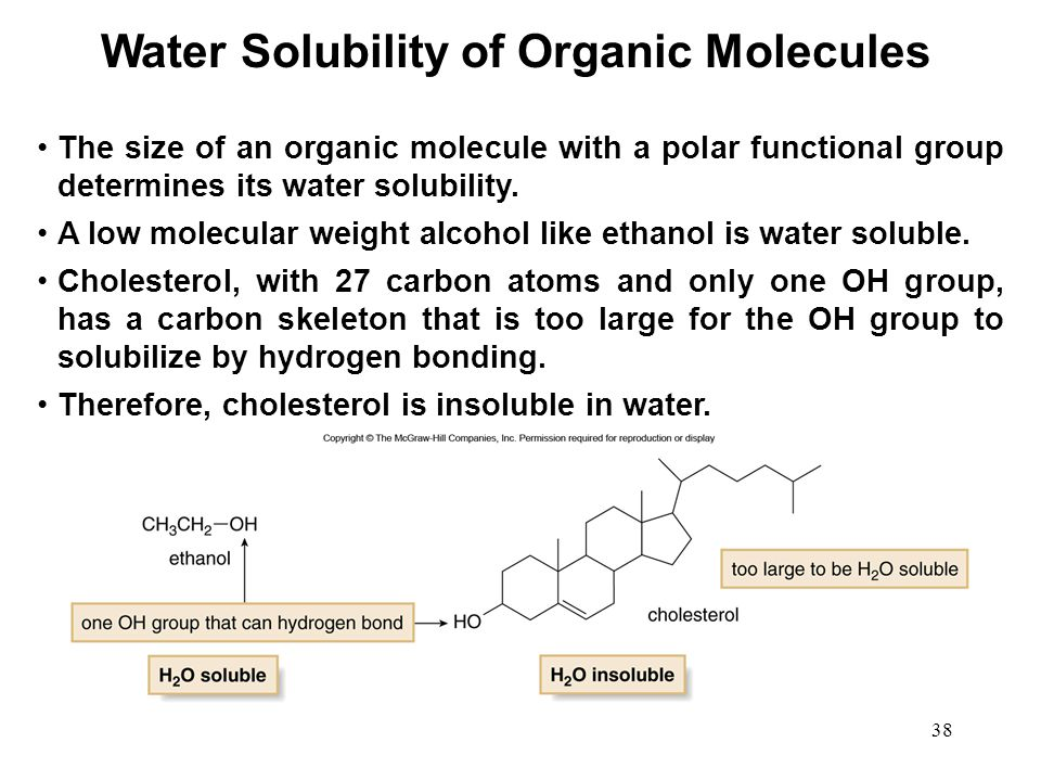 solubility of organic compounds Organic chemistry on khan academy: carbon can form covalent bonds with itself and other elements to create a mind-boggling array of structures in organic chemistry, we will learn about the reactions chemists.