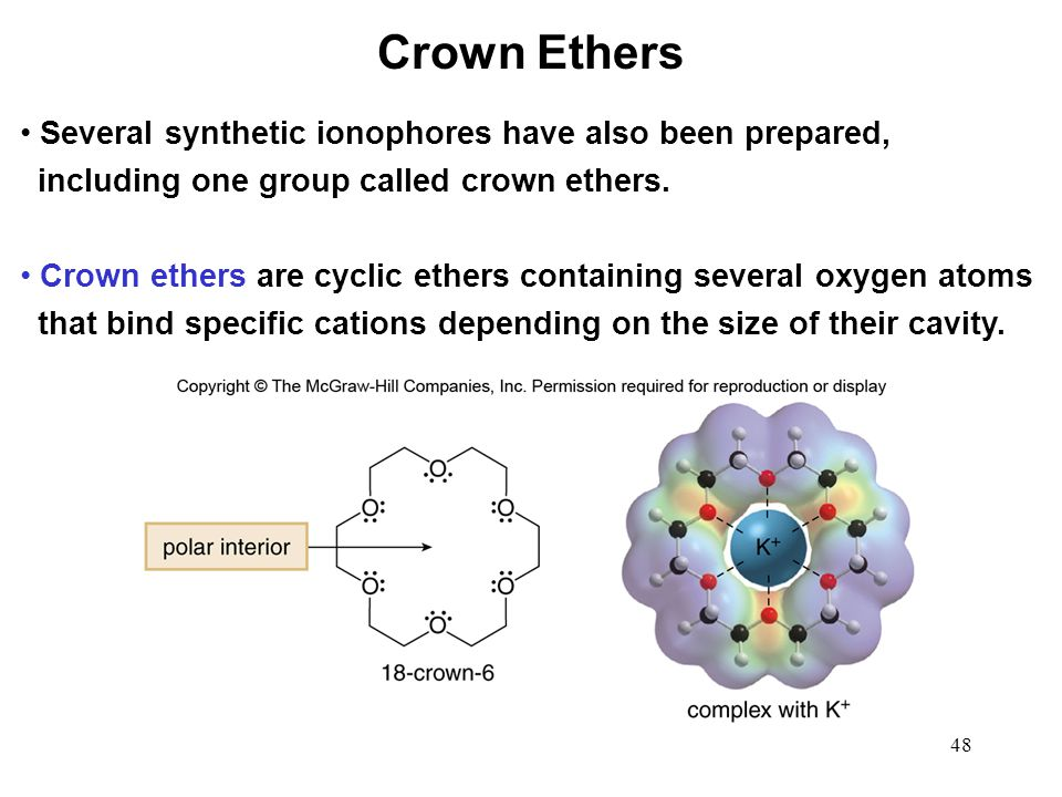 Crown Ethers Several synthetic ionophores have also been prepared,