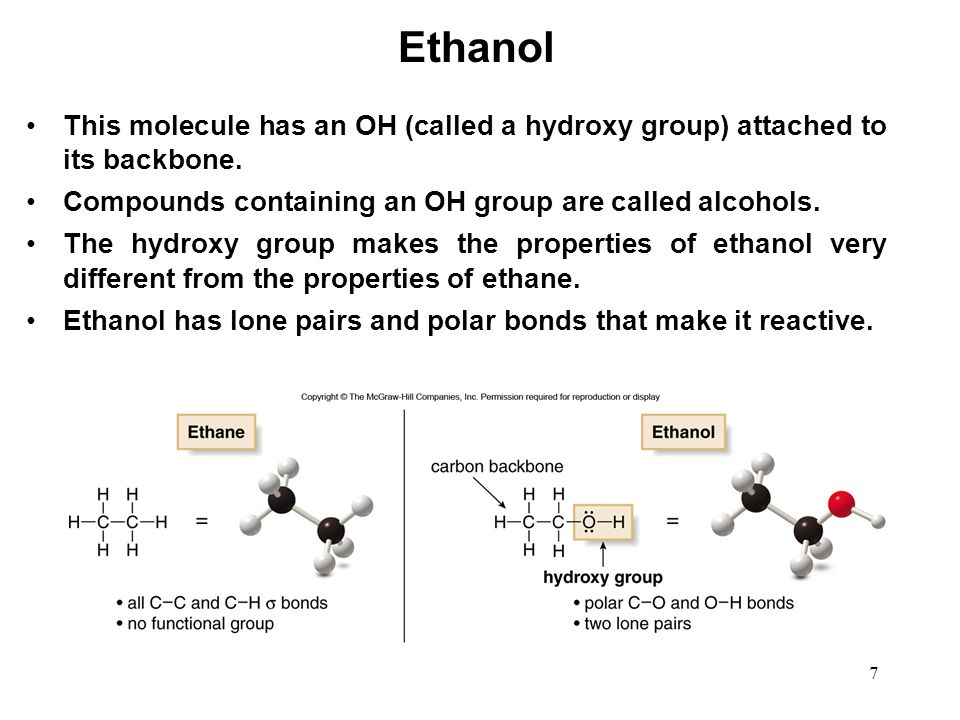 Ethanol This molecule has an OH (called a hydroxy group) attached to its backbone. Compounds containing an OH group are called alcohols.