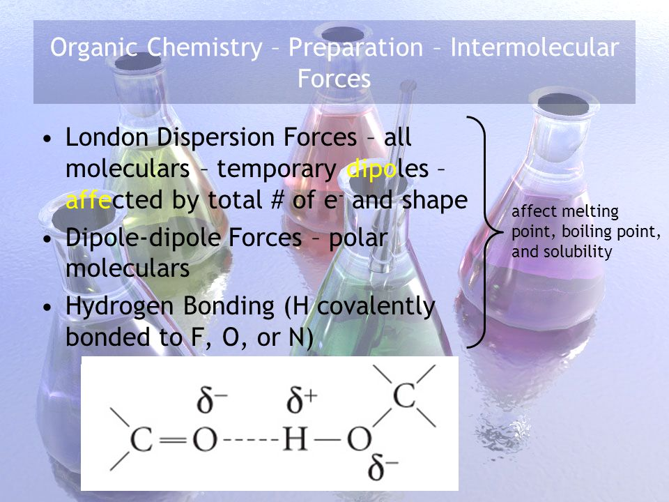 Organic Chemistry – Preparation – Intermolecular Forces