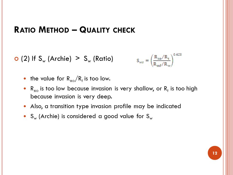 Ratio Method – Quality check