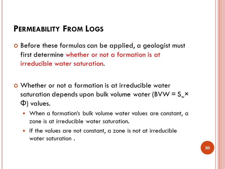 Permeability From Logs