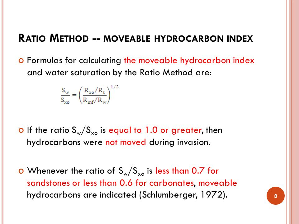 Ratio Method -- moveable hydrocarbon index