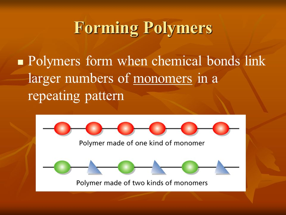 Forming Polymers Polymers form when chemical bonds link larger numbers of monomers in a repeating pattern.