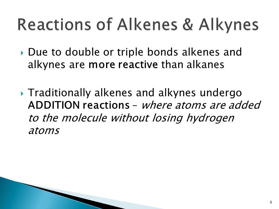 Reactions of Alkenes & Alkynes