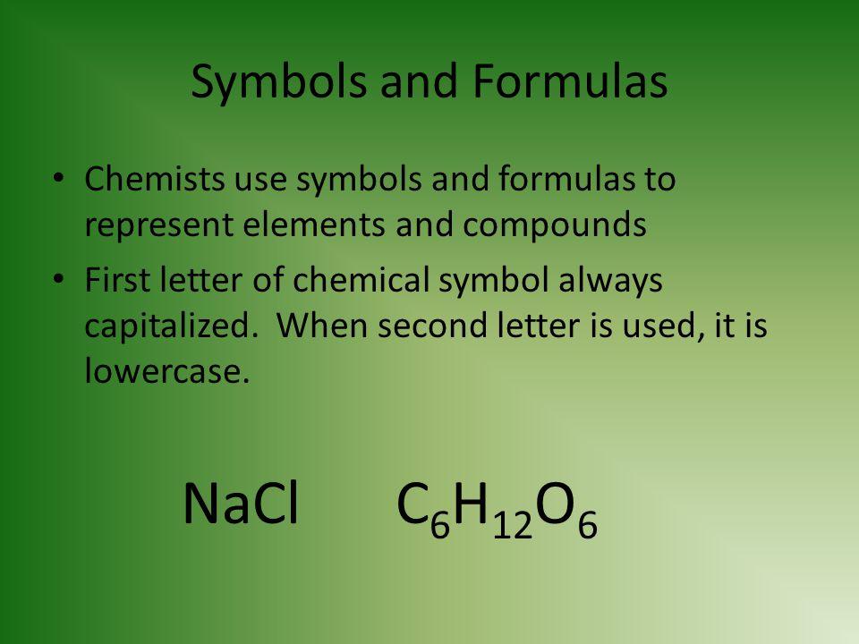 NaCl C6H12O6 Symbols and Formulas