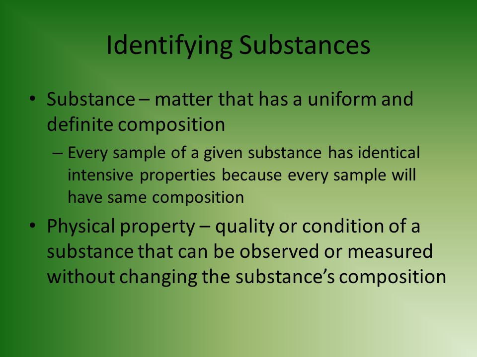 Identifying Substances