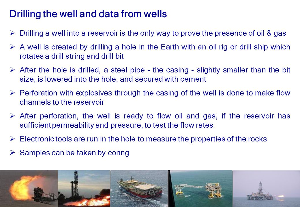 Drilling the well and data from wells