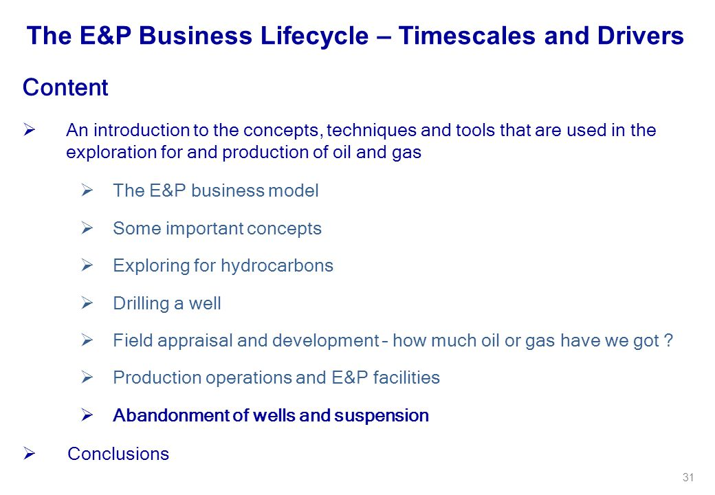 The E&P Business Lifecycle – Timescales and Drivers