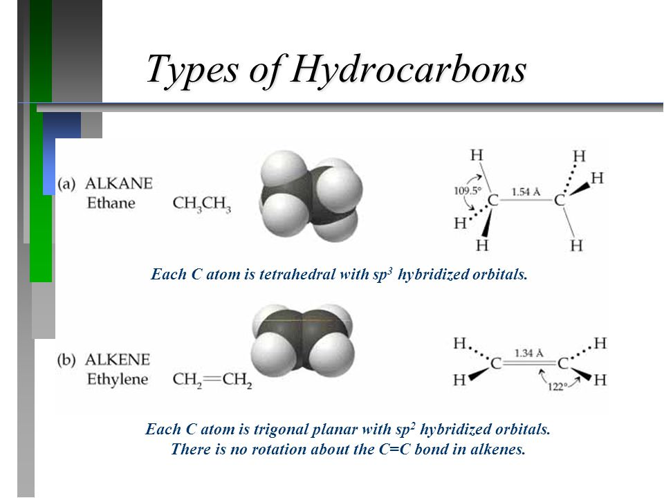 Types of Hydrocarbons Each C atom is tetrahedral with sp3 hybridized orbitals.