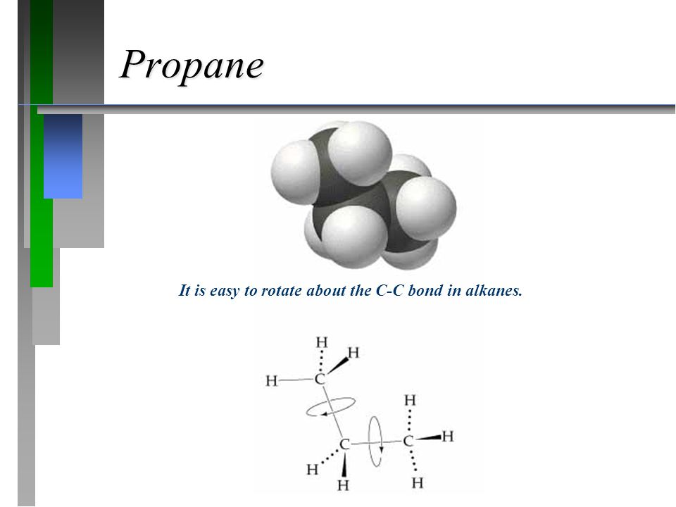 It is easy to rotate about the C-C bond in alkanes.