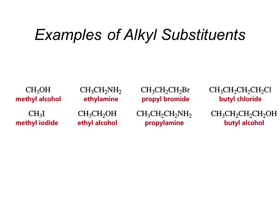 Examples of Alkyl Substituents