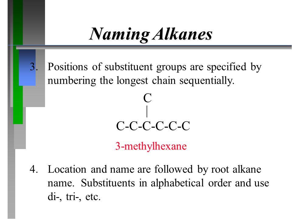 Naming Alkanes C  C-C-C-C-C-C