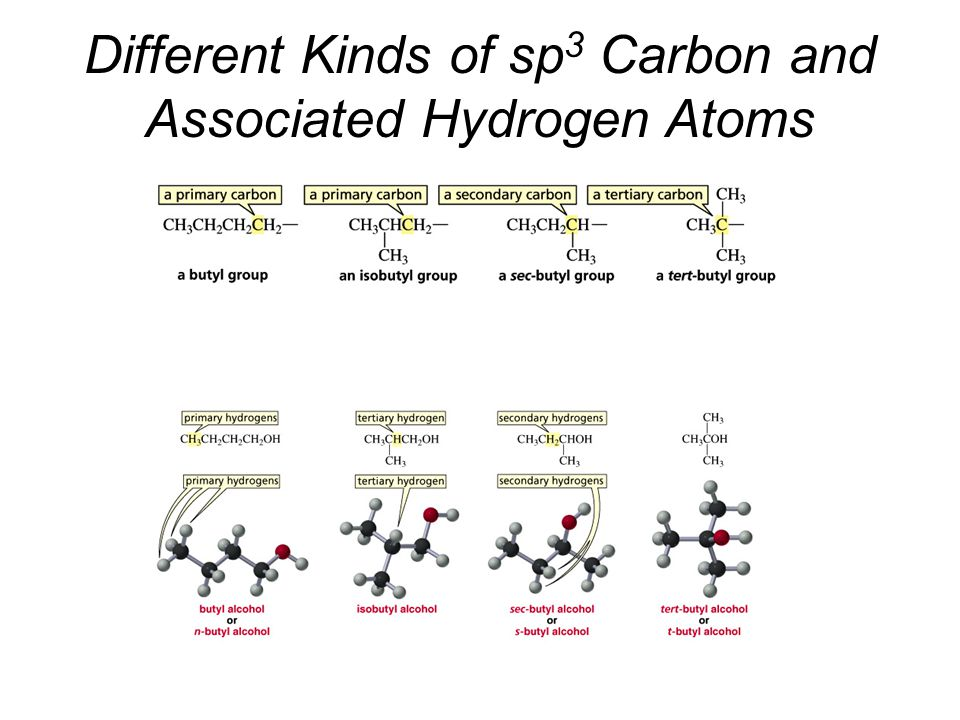 Different Kinds of sp3 Carbon and Associated Hydrogen Atoms
