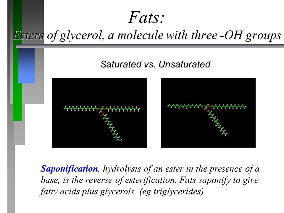 Fats: Esters of glycerol, a molecule with three -OH groups