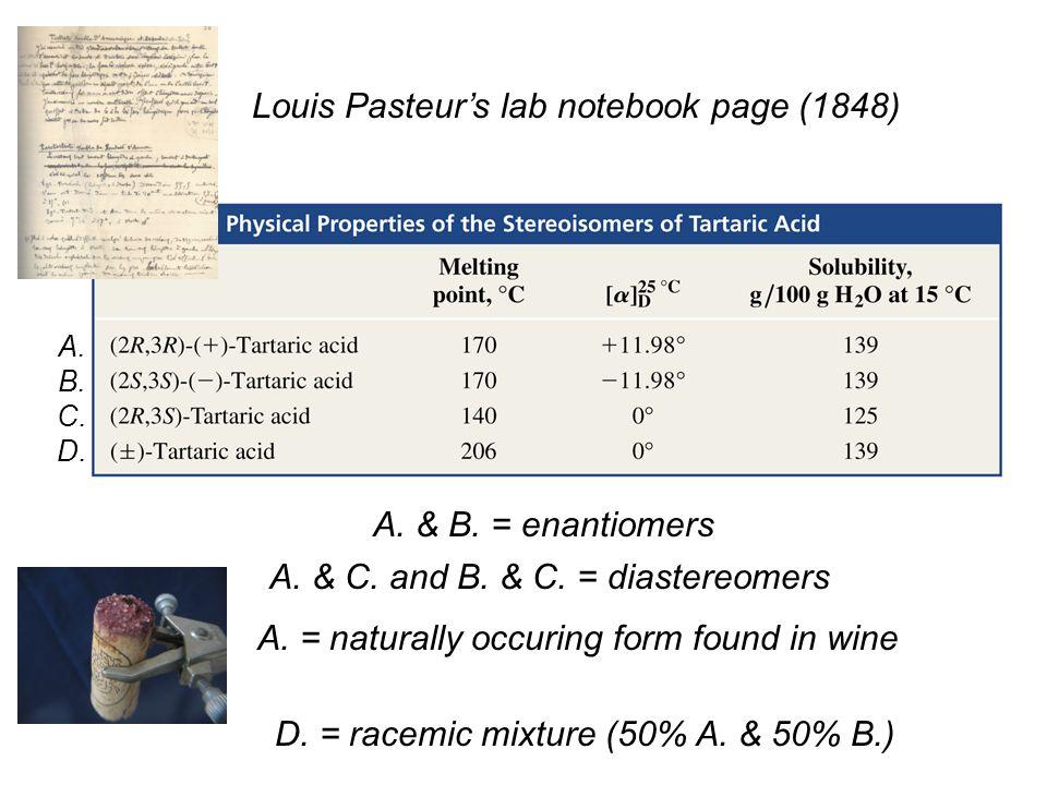 Louis Pasteur's lab notebook page (1848)