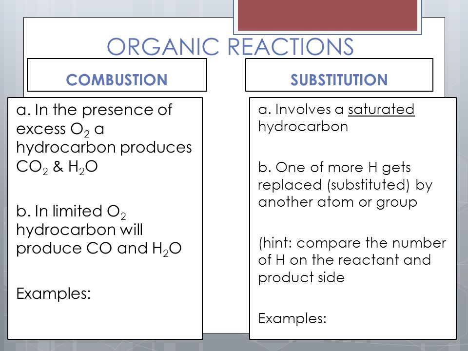 ORGANIC REACTIONS COMBUSTION SUBSTITUTION