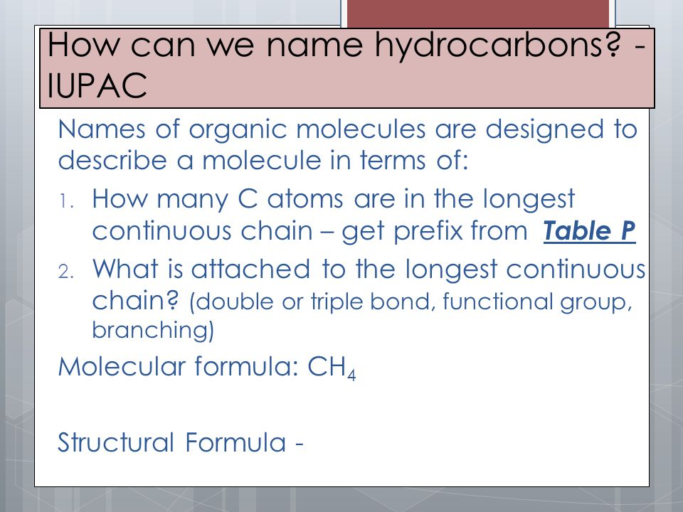 How can we name hydrocarbons -IUPAC