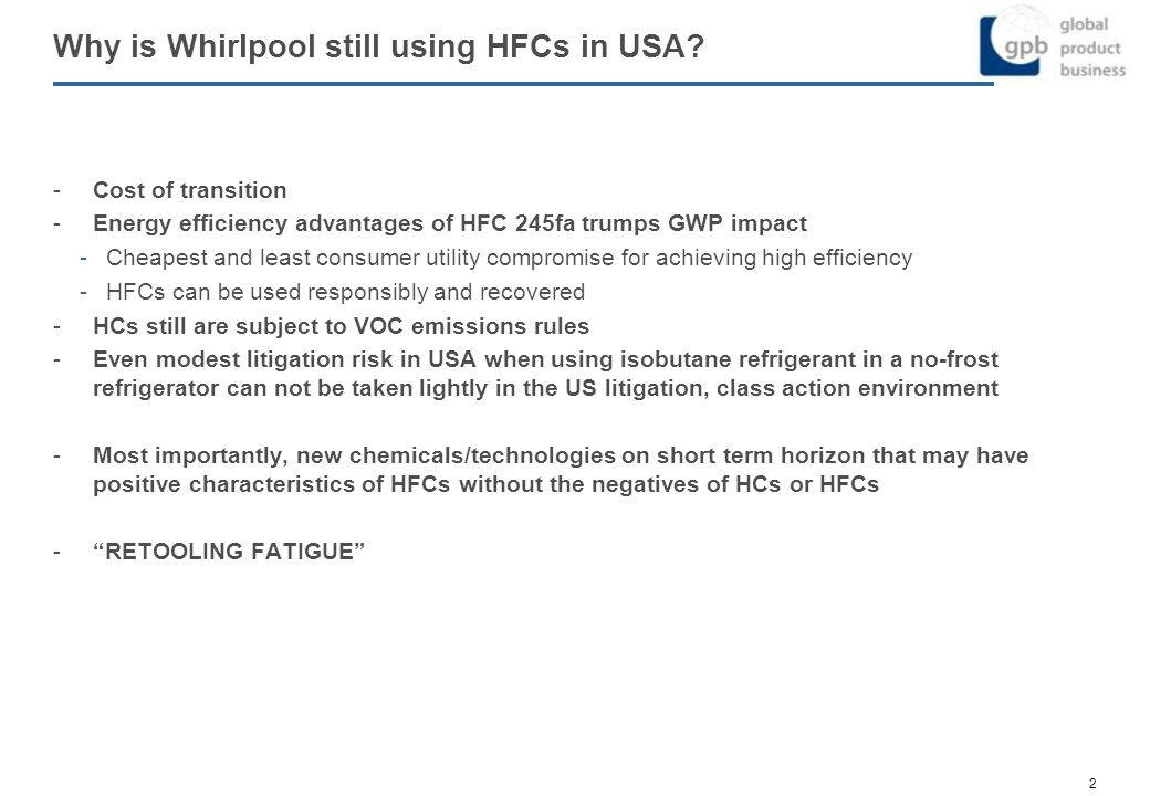 Why is Whirlpool still using HFCs in USA