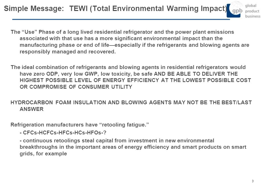 Simple Message: TEWI (Total Environmental Warming Impact)