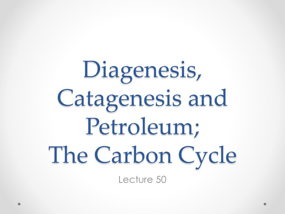 Diagenesis, Catagenesis and Petroleum; The Carbon Cycle