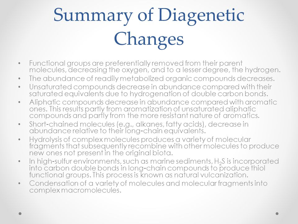 Summary of Diagenetic Changes