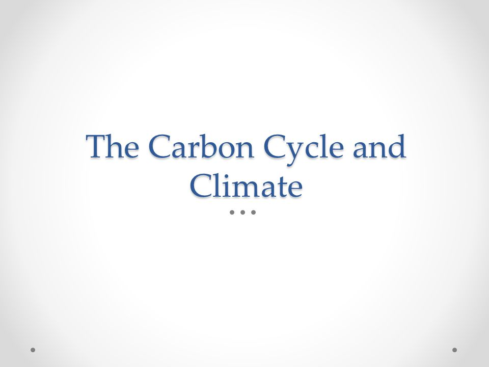 The Carbon Cycle and Climate