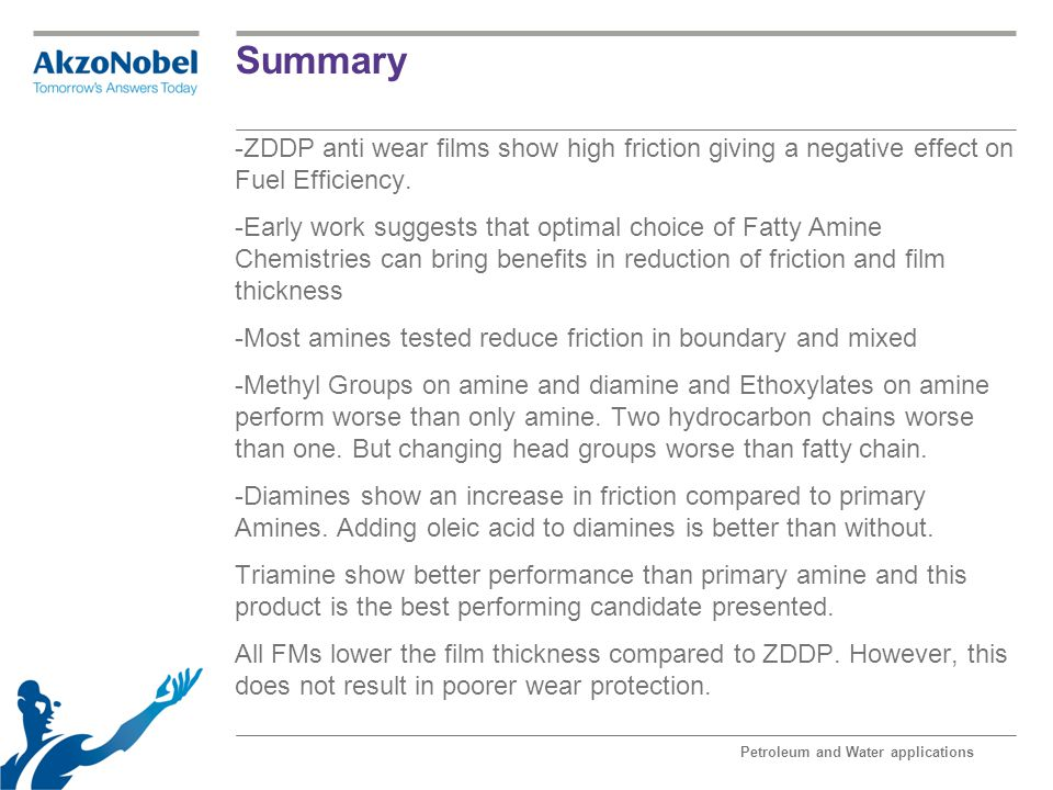 Summary ZDDP anti wear films show high friction giving a negative effect on Fuel Efficiency.
