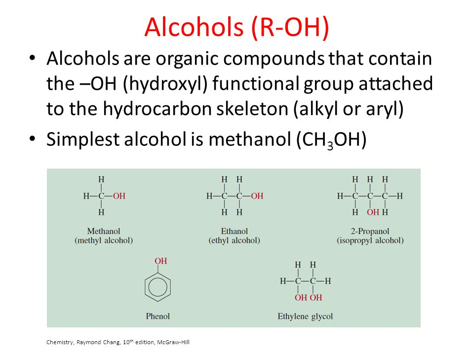 Alcohols (R-OH) Alcohols are organic compounds that contain the –OH (hydroxyl) functional group attached to the hydrocarbon skeleton (alkyl or aryl)