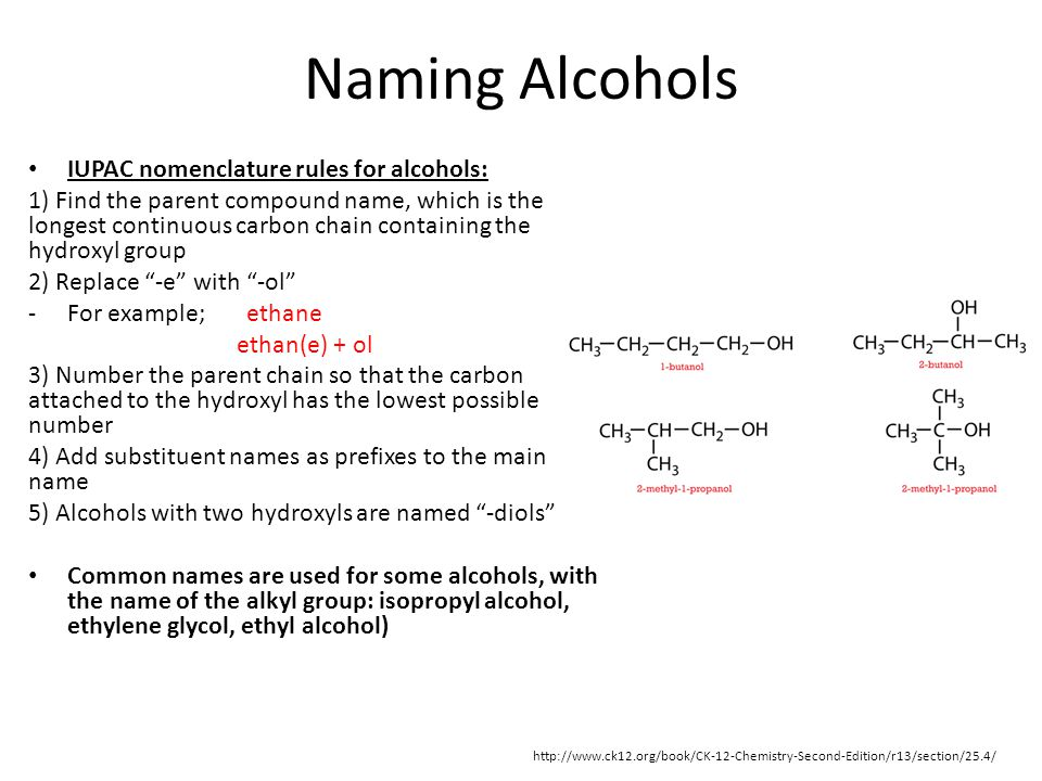 Naming Alcohols IUPAC nomenclature rules for alcohols: