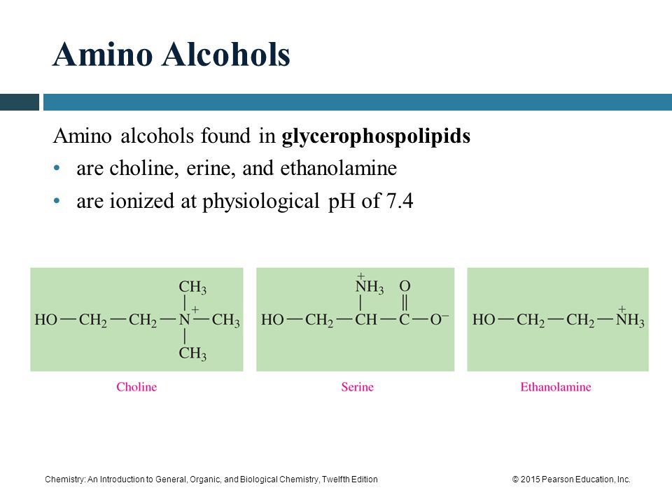 Amino Alcohols Amino alcohols found in glycerophospolipids
