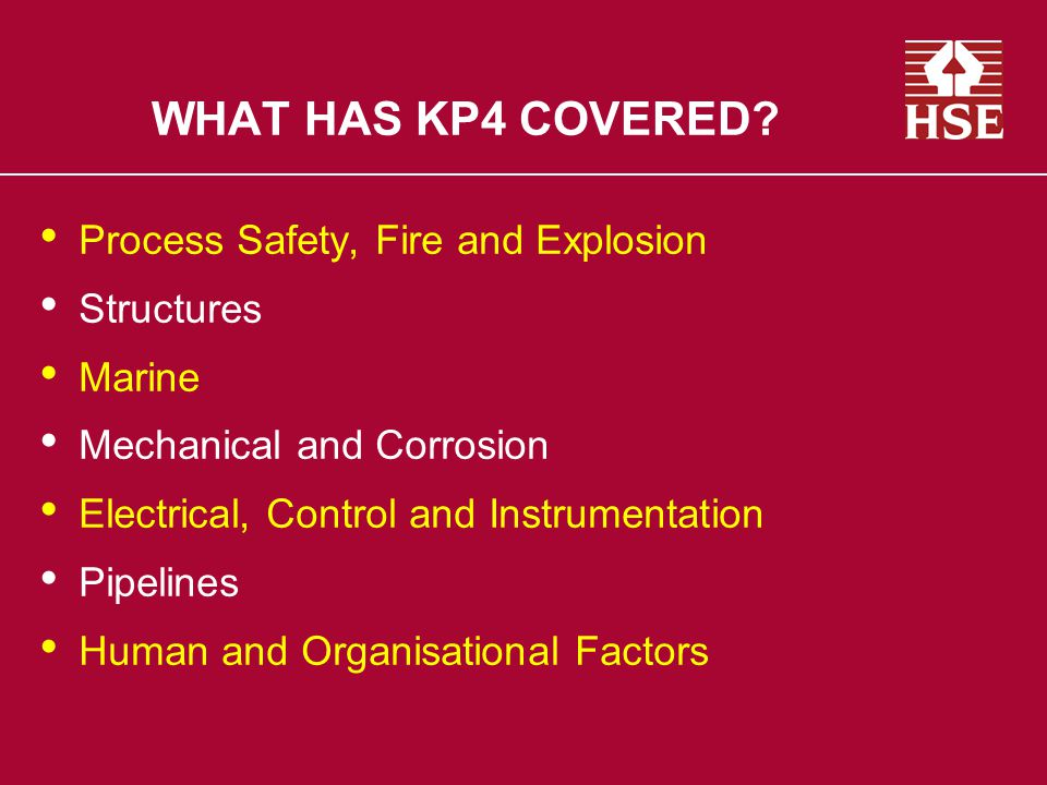 WHAT HAS KP4 COVERED Process Safety, Fire and Explosion Structures