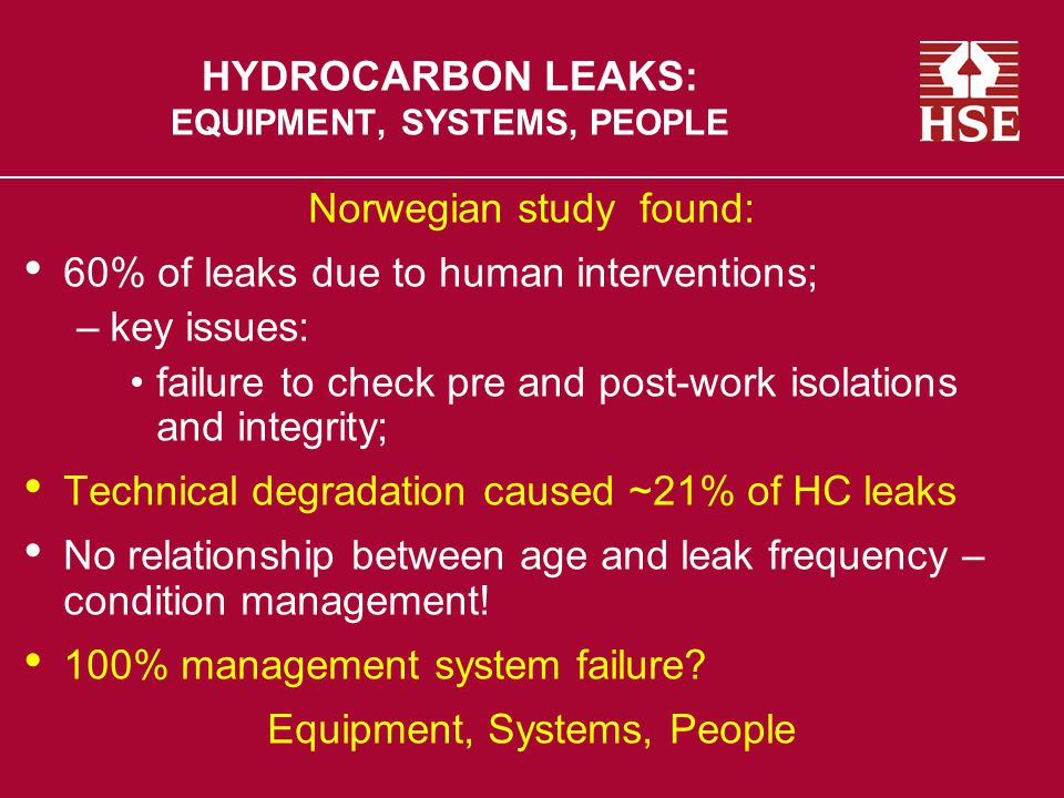 HYDROCARBON LEAKS: EQUIPMENT, SYSTEMS, PEOPLE