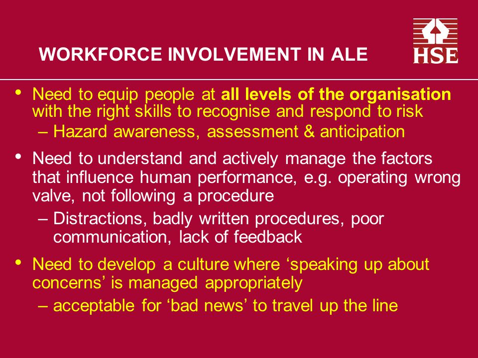 WORKFORCE INVOLVEMENT IN ALE