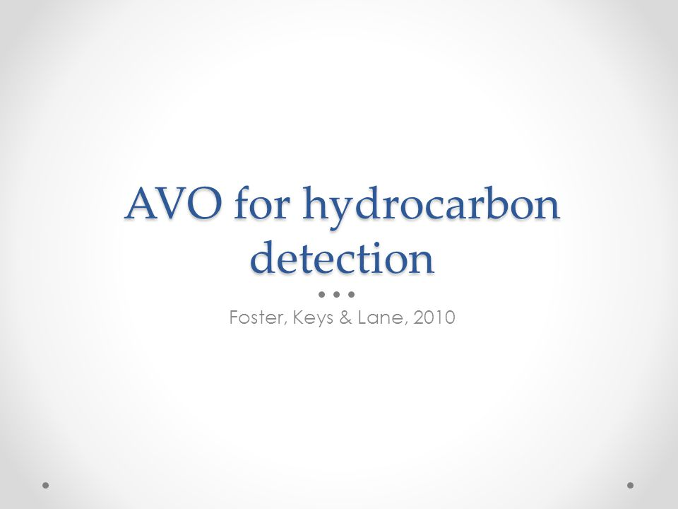 AVO for hydrocarbon detection