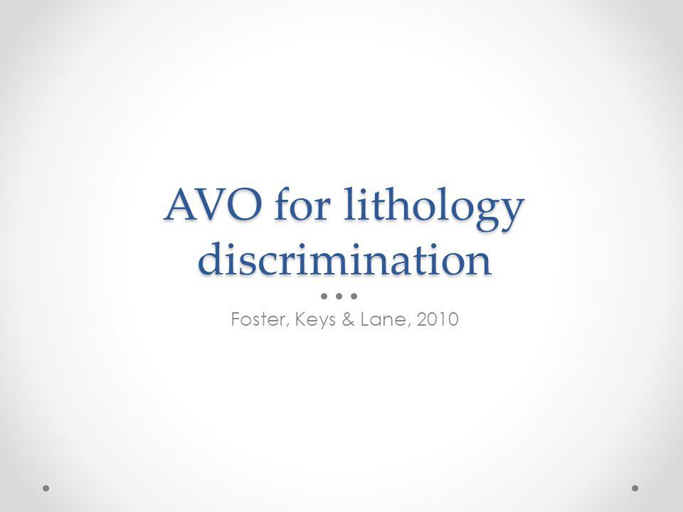 AVO for lithology discrimination
