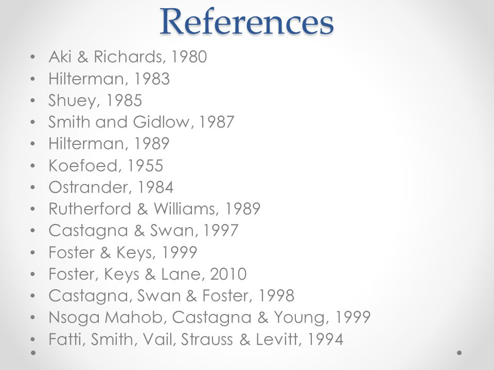 References Aki & Richards, 1980 Hilterman, 1983 Shuey, 1985