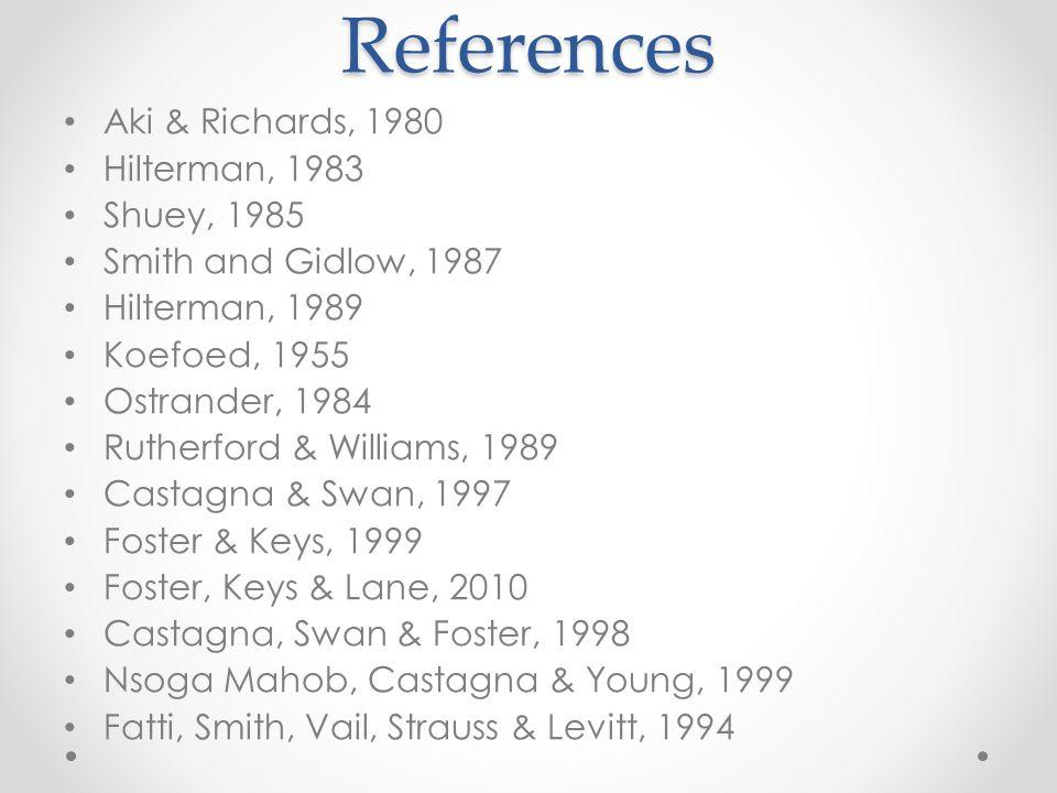 References Aki & Richards, 1980 Hilterman, 1983 Shuey, 1985