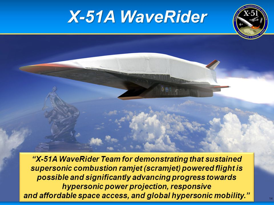 X-51A WaveRider The X-51A exemplifies the creativity and genius traditionally found within the American aerospace community.