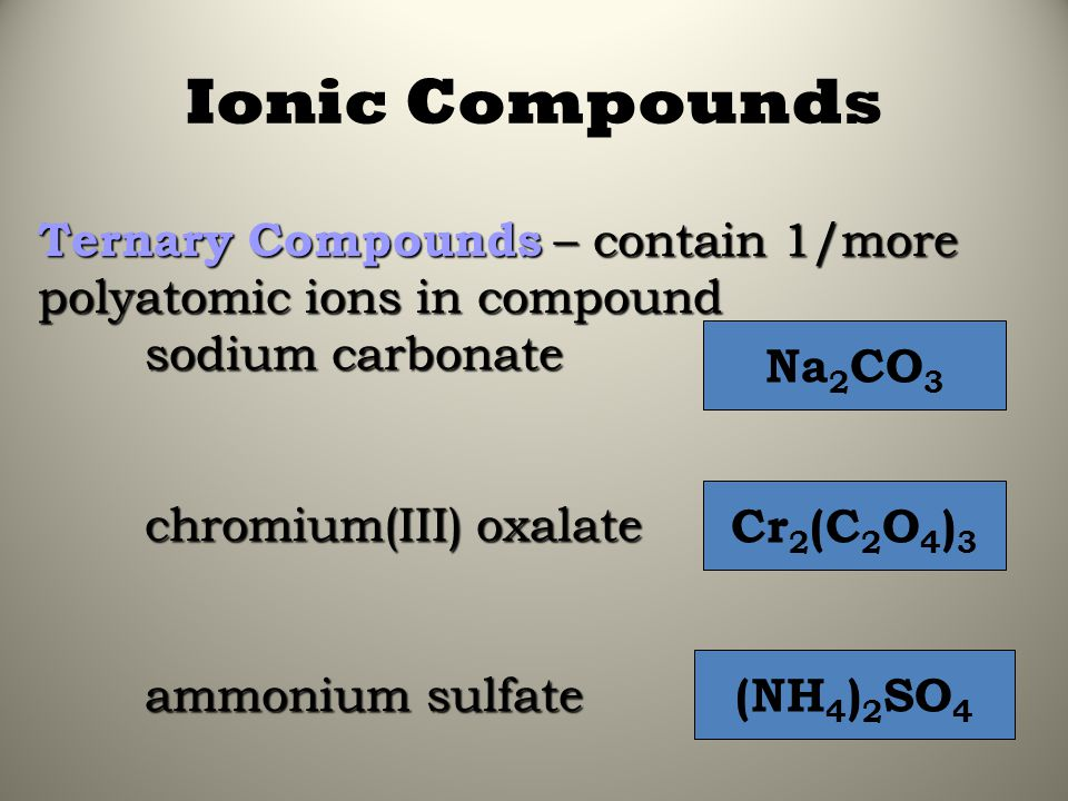 Ionic Compounds Ternary Compounds – contain 1/more polyatomic ions in compound. sodium carbonate. chromium(III) oxalate.