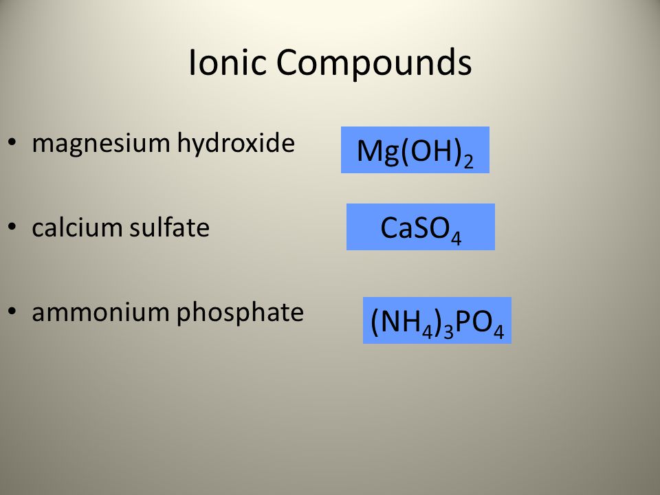 Ionic Compounds Mg(OH)2 CaSO4 (NH4)3PO4 magnesium hydroxide