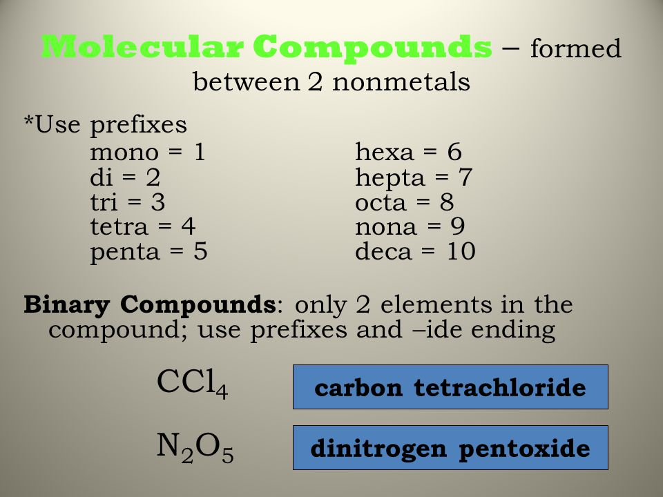 Molecular Compounds – formed between 2 nonmetals