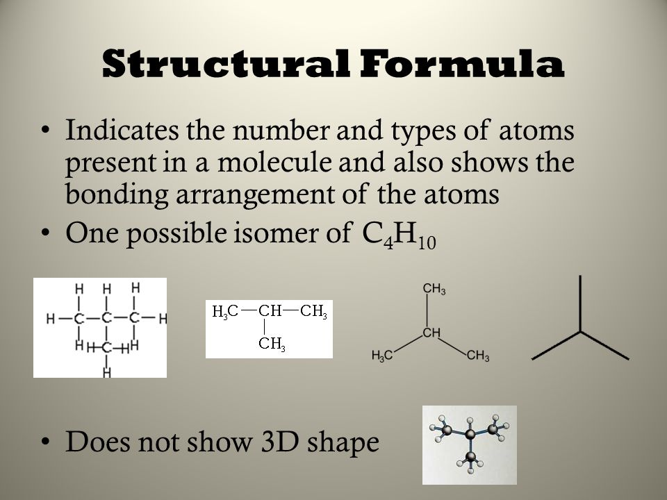 Structural Formula Indicates the number and types of atoms present in a molecule and also shows the bonding arrangement of the atoms.