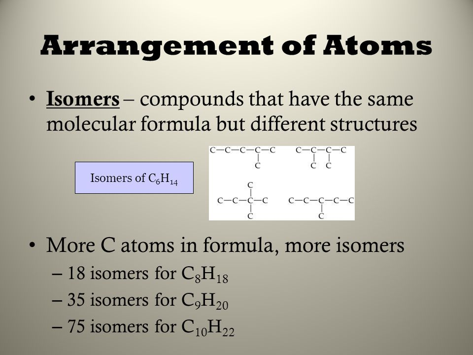 Arrangement of Atoms Isomers – compounds that have the same molecular formula but different structures.
