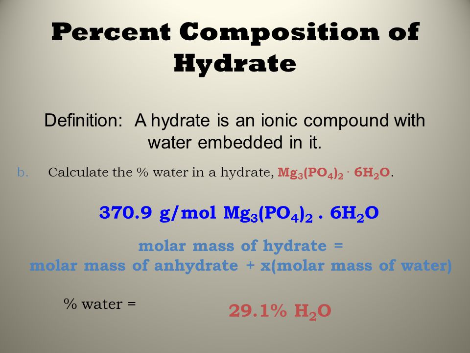 molar mass of anhydrate + x(molar mass of water)
